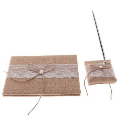 Hessian Bow Lace Rustic Guest Book Pen Holder Set Wedding Party Reception