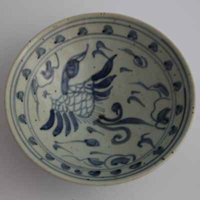 China old hand-carved porcelain Blue & white crane pattern  Hat to bowl