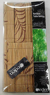 Eden Bamboo Table Settings Honey Colour 4 x Placemats & 4 x Coasters