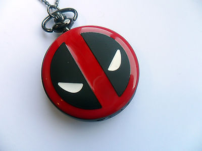 Stunning Large Marvel Super Hero DEADPOOL  Black Necklace Watch