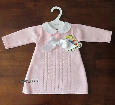 Baby Girls Knitted Dress Spanish Style Collar Bow Pink Cable Knit 0-3 3-6 6-9 M