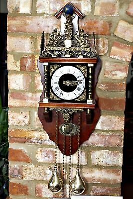 Vintage German 'Franz Hermle' Atlas Mahogany Case 8 - Day Wall Clock with Chimes