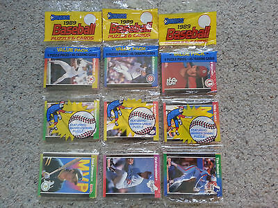 1989 Donruss Leaf Major League Baseball Rack pack 45 trading cards Puzzle MLB