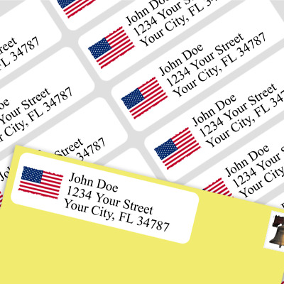 800 Personalized Return Self-adhesive Address Labels -USA Square Flag - FREE SHP