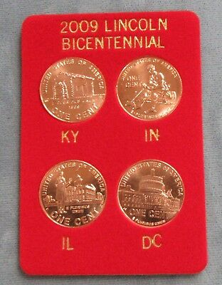 2009 Lincoln Bicentennial Penny 4 pc. Set. Snaplock Packaging Red Velour Card