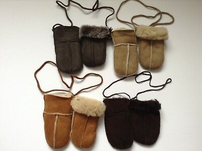 Babies Genuine Sheepskin Puddy Mittens (On Cord) - Various Colours