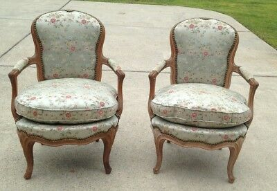 Pair of French Louis XV  Bergere Armchairs with Silk Upholstery