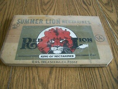 summer lion nectarines red lion wood  wooden crate end piece