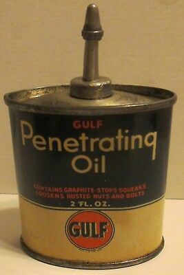 Gulf Penetrating Oil Tin Lead Top Hard To Find Size Nice