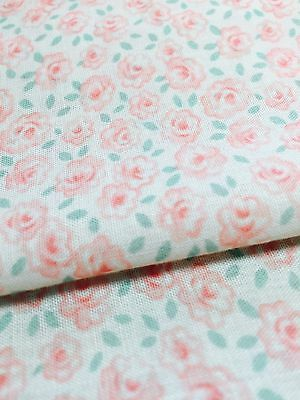 Delicate Pink Flowers Fabric on Light Pink Background by Textile Arts and Film
