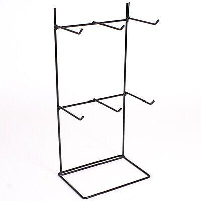 6 Hook Black Counter Top Retail Shop Display Stand 32cm x 15cm