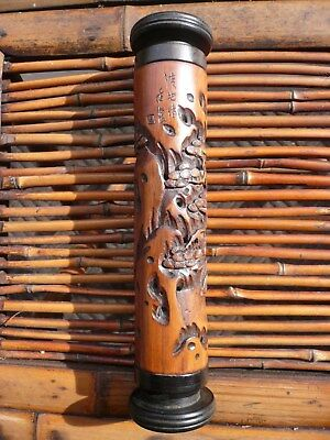 """Vintage Chinese Carved Bamboo Incense Burner Signed  9 1/2"""" Tall"""