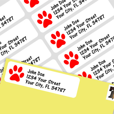 800 Personalized Return Self-adhesive Address Labels -Red Paw Print