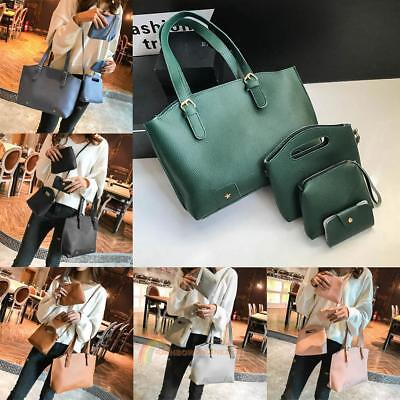 4pcs/Set Fashion Women Leather Handbag Shoulder Bag Crossbody Clutch Card Holder