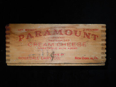 Vtg Paramount Cream Cheese Wood Box Held 2 LBS  Rosedale Dairy Co New Berlin Pa
