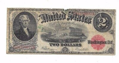 1917 $2 Large Red Seal United States Legal Tender