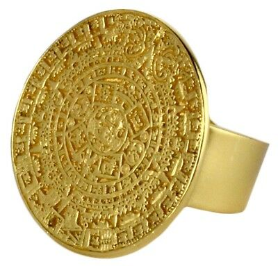 ACROSS THE PUDDLE 24k Gold Plated Aztec Calendar Re-Sizable Ring