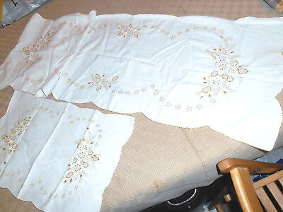 Vintage Set Stars Embroidery Gold Christmas Table Runner Tray Cloth Party Cotton