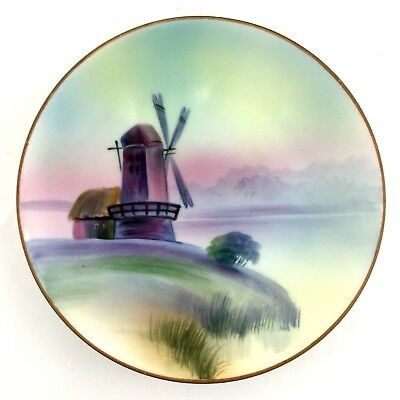 Nippon Hand Painted Small Decorative Collector Plate Windmill Scene Vintage Gold