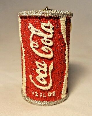 Vtg Coca Cola Coke Beaded 12oz Can Christmas Tree Ornament