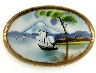 Nippon Hand Painted Oval Sailboat On Water Scene Decorative Collector Plate Vtg.
