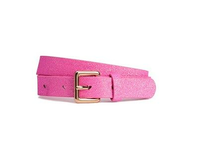 H M Girls Pink Gold Glitter Belt With Heart Cutouts 27-28 Inches
