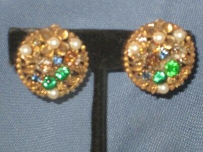 Vintage Signed ART Gold-Tone Blue Green Rhinestone & Faux Pearl Clip Earrings