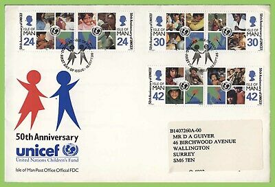 Isle of Man 1996 50th Anniversary of UNICEF set on First Day Cover