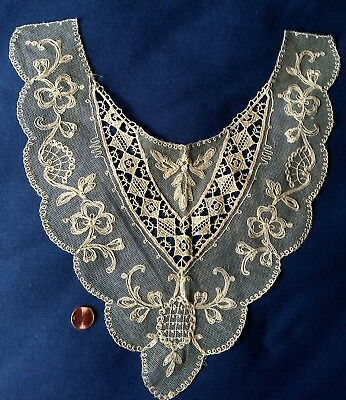 Circa 1900 machine embroidered net lace dress front or plastron COSTUME
