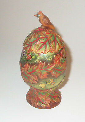 Fall Egg Box G DeBrekht Trinket Cardinal Leaves Butterflies Autumn Colors New