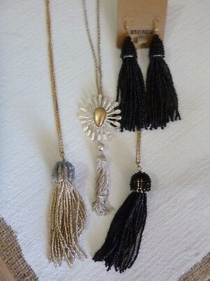 VINTAGE Flapper Style LOT OF 3 LONG TASSEL NECKLACE AND EARRING SETS  NEW