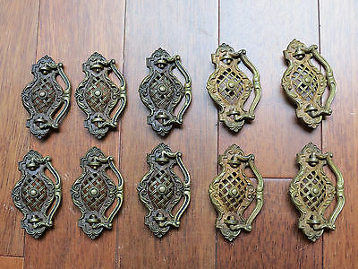Lot of 10 Antique Vintage Solid Brass Drawer Pulls