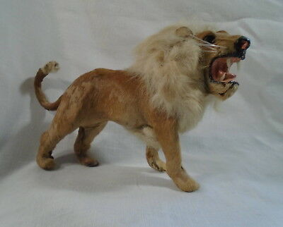 Antique Toy Lion Very Realistic Rabbit Fur Covered Figure