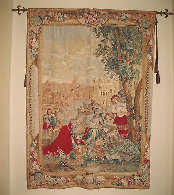 Large 8' X 5' French tapestry wall hanging with rod and tassels included
