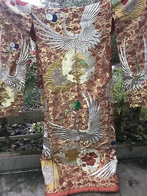 Japanese Wedding Uchikake Kimono Embroidered Gold Cranes Vintage 70""