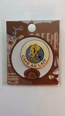 HTF Looney Tunes Tweety Bird Cafe au Lait Enamel and Gold Tone Pin NIP FREE SH