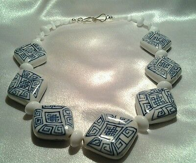 Vintage Silver Chinese Blue White Porcelain Hand Painted Heavy Bead Necklace