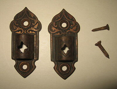 Pair Antique Brass Plated Victorian Gas Oil Lamp Wall Brackets Hardware Eastlake