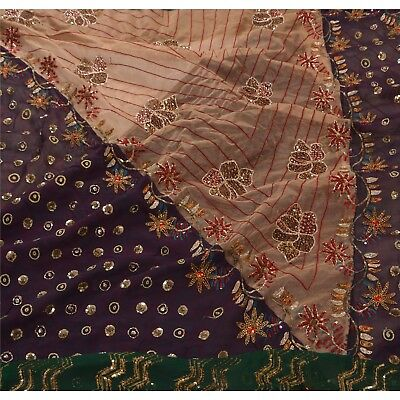 Sanskriti Vintage Hand Beaded Heavy Saree Georgette Sequins Purple Sari Zari