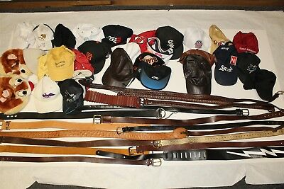 Hats & Belts Lot Leather Collection Resale Wholesale Used Raw Unsorted crZ