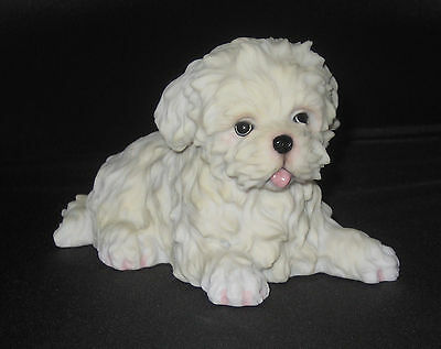 """Maltese Puppy Figurine White Dog Pets 4.5"""" Long Poly Stone New in Box"""