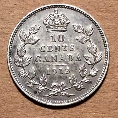 Canada 1913 - 10¢ Cents - Small Leaves - XF - Extra Fine - EF