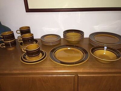 1970's Vintage Kiln Craft Dinner Set For 6 ~ Retro Staffordshire England