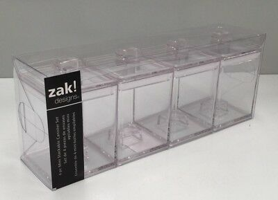 Zak Designs Mee Mee Mini 4pk Stackable Canisters Clear Colour