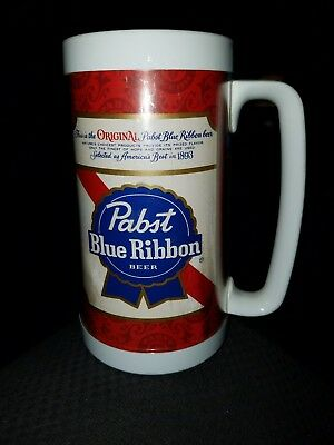 Vintage Pabst Blue Ribbon Beer Thermo Serv Double Wall Insulated Plastic Mug PBR