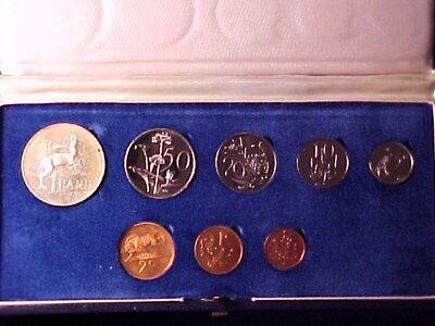 South Africa 8-Coin Proof Set 1971 Nice In Case With Silver Rand Coin