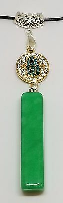 New Natural Green jade Hand-carved Om Decoration Nephrite Pendant Necklace
