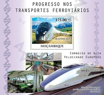 High Speed Trains (ALSTOM AGV/Mercury HST Concept) Stamp Sheet (2010 Mozambique)