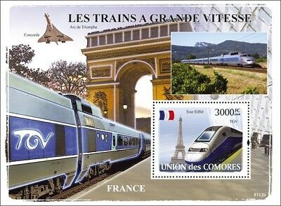 The HIGH SPEED TRAINS of FRANCE (TGV/Eiffel) Railway Stamp Sheet (2008 Comoros)