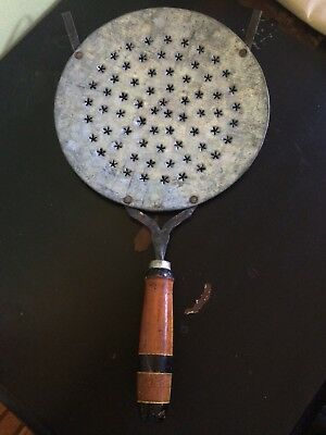 """Antique Tool Primitive 16"""" Perforated Metal Strainer Sifter Sieve Wood Handle"""